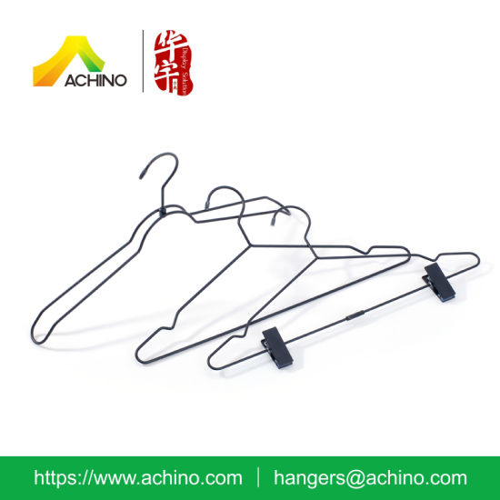 China Black Wire Suit Hanger With Clips China Wire Hanger Metal