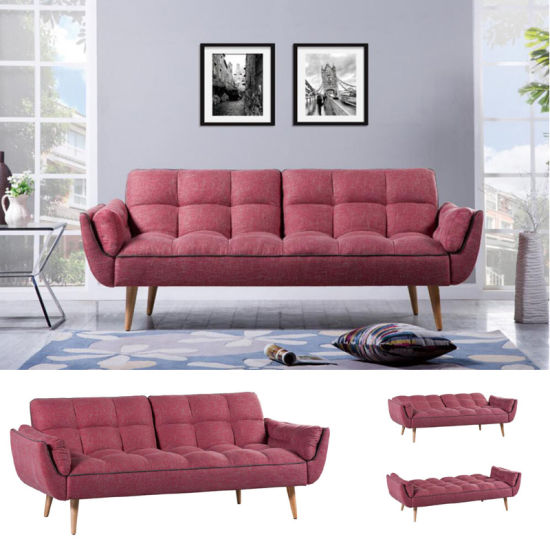 Home Furniture Pink Fabric Sofa Bed With Wooden Legs Hc113
