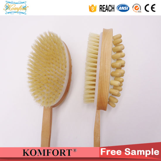 Wood Long Handle Bath Body Back Skin Bristle Massage Brush (JMHF-125) pictures & photos