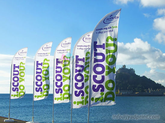 Wholesale Outdoor Advertising Display Durable Folding Feather Beach Flag