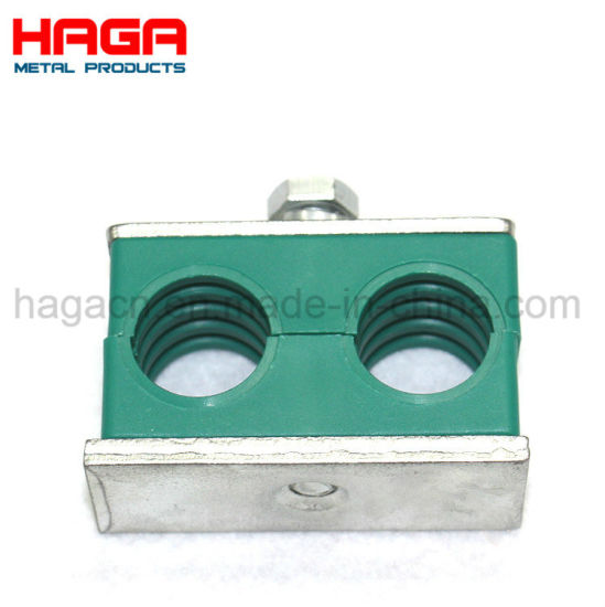 China Green Plastic Double Holes Adjustable Pipe Clamp