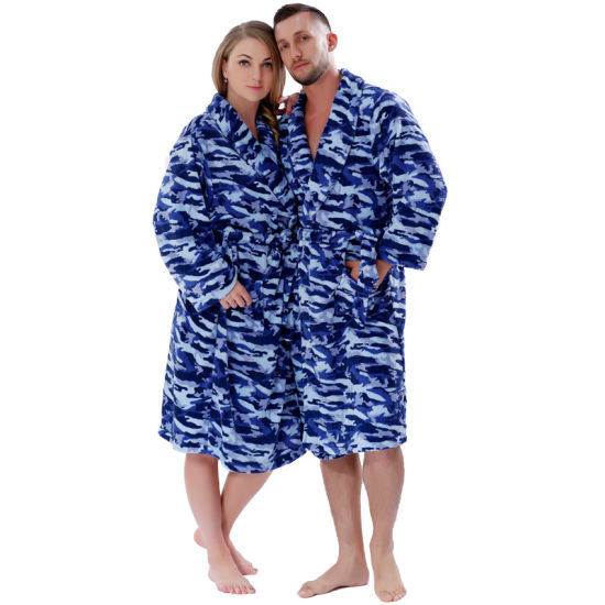 New Couples Coral Fleece Navy Wave Nightgown Sleepwear for Men Women