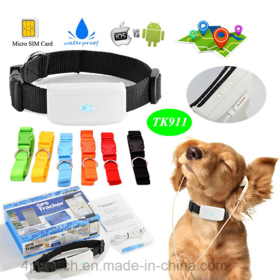 Waterproof Dog/Cat Pets GPS Tracker with Remote Voice Monitoring Tk911