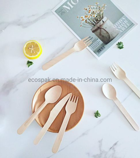 Simple Design Compostable Wooden Cutlery Set Biodegradable Disposable Flatware Dinnerware