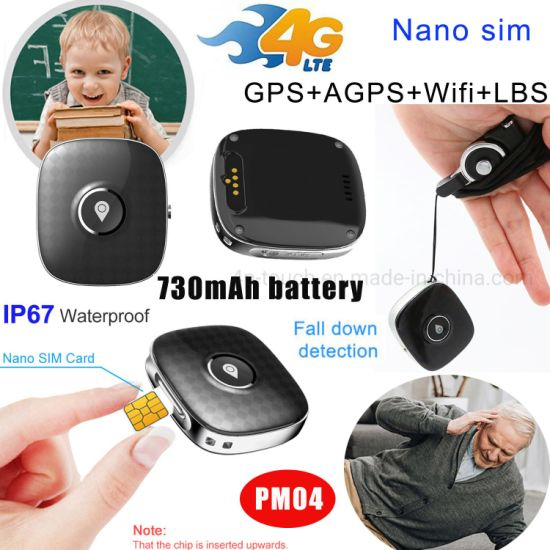 New 4G LTE IP67 Waterproof Pendant Fall Down Alarm Alerts Tiny GPS Tracker with SIM Card Slot for Kids Elder PM04