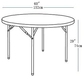 5ft Single-Piece Plastic Circle Top Banquet Folding Table pictures & photos