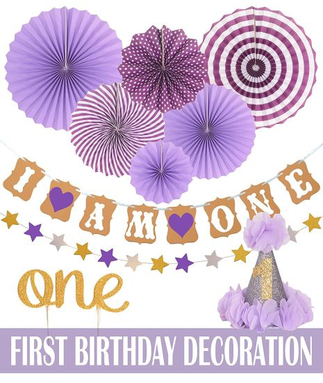 Umiss 1st Baby Girl Birthday Party Decoration Kit Paper Decorations