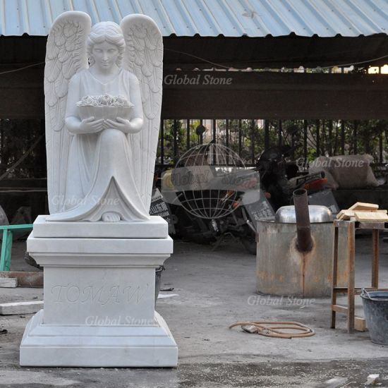Customized Hand Carved White Marble Headstone (GSME-113) pictures & photos