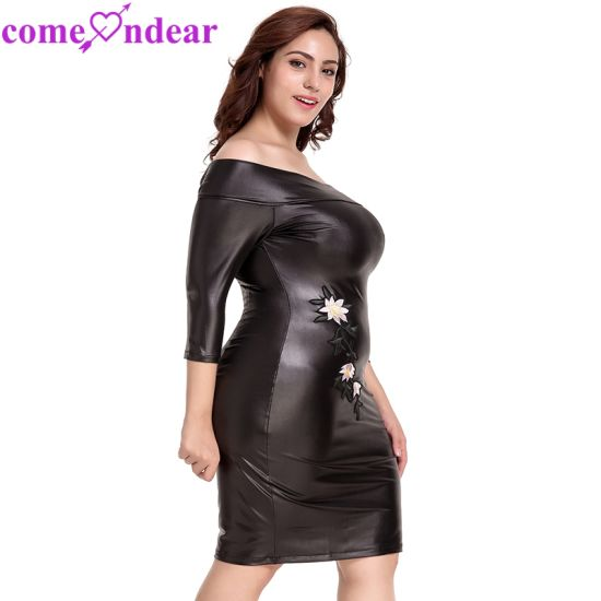 Plus Size Black off-Shoulder Embroidery Leather Dress