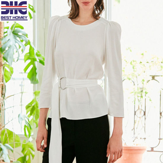 Women' S 3/4 Length Sleeves Tops Puff Shoulder Casual Blouses with Buckled Belt for Office Ladies