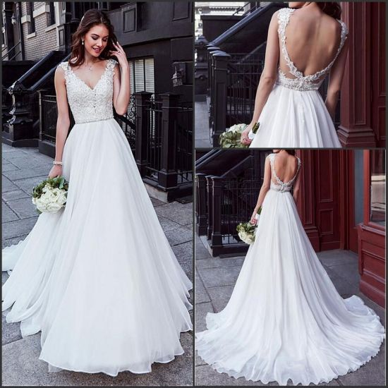 China Organza Wedding Dress V Neck Lace Princess Boho Beach Bridal