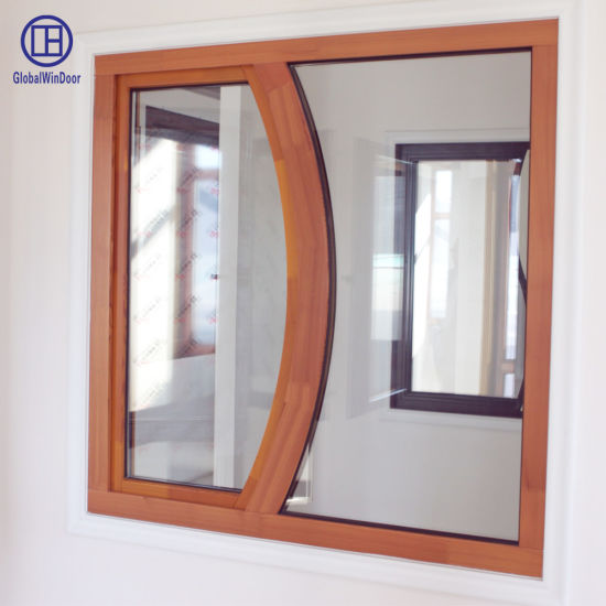 Solid Wood Red Oak Special Shaped Toughened Glass Tilt and Turn Security Window with Good Hardware