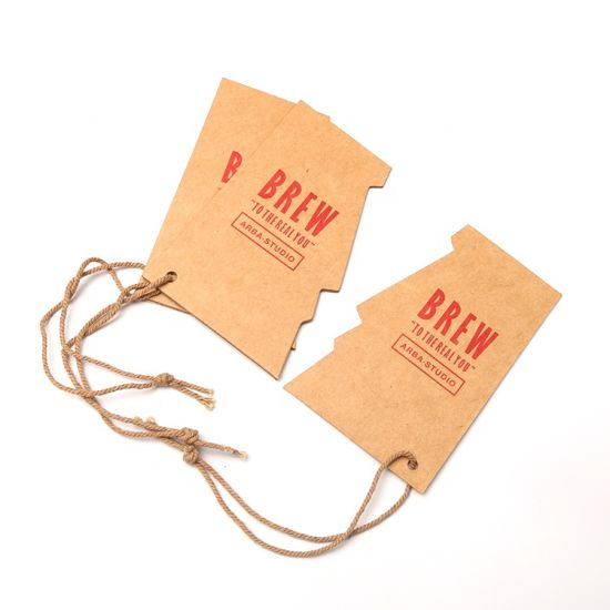 Custom Designed Brand Apparel Recycled Kraft Brown Paper Printed Jeans Clothing Swing Hang Tags with String