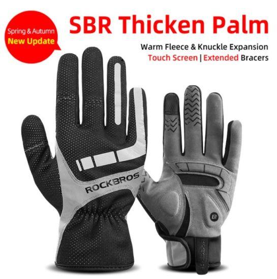 Cycling Gloves Shockproof Wear Resistant SBR Men Women Full Finger Windproof Gloves Breathable Warm MTB Glove
