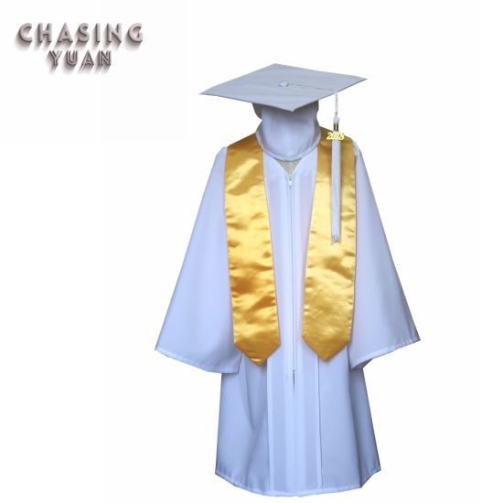 Children Matte White Graduation Gown Cap and Gold Stole