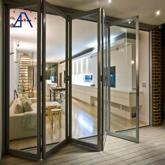 as 2047 Certification Tempered Double Glazed Aluminum Folding Door Aluminum Bifold Door