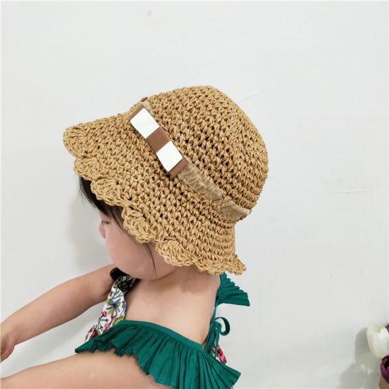 Children′s Straw Beach Hat, Straw Bucket Hat for Kids pictures & photos