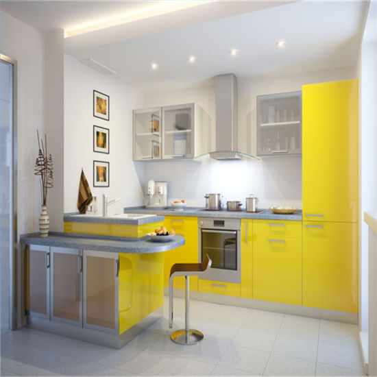 China Light Yellow High Gloss Lacquer Kitchen Design China Modular