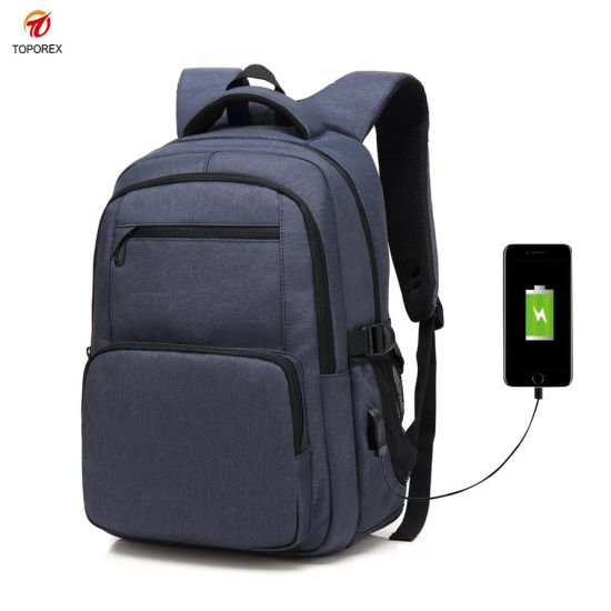 Toporex Custom Fashion Travel Laptop Backpack Wholesale Outdoor Leisure Sports Shoulder USB Charger Bag