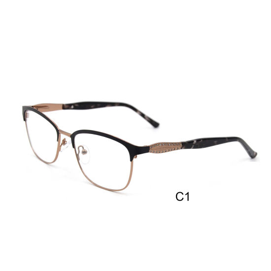 New Arrival Stainless Steel Metal Optical Frame with Diamonds