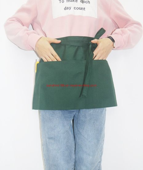 Custom Kitchen Cooking Beauty Short Waist Apron with 3pockets