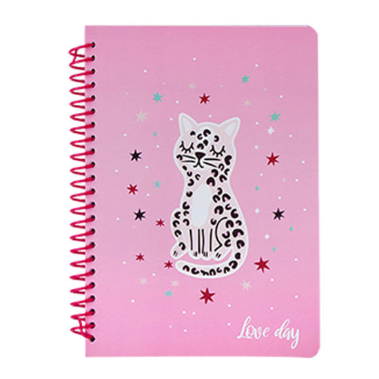 A5 Plastic Spiral Leopard Printed White Cardboard Cover Paper Notebook UV Printing Pink Leopard