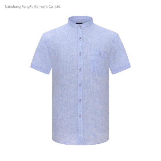 Men's Pure Color Stand Collar Short Sleeve Shirt Leisure Comfortable Shirt
