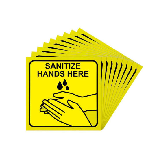 Sanitize Hands Here Signs Stickers