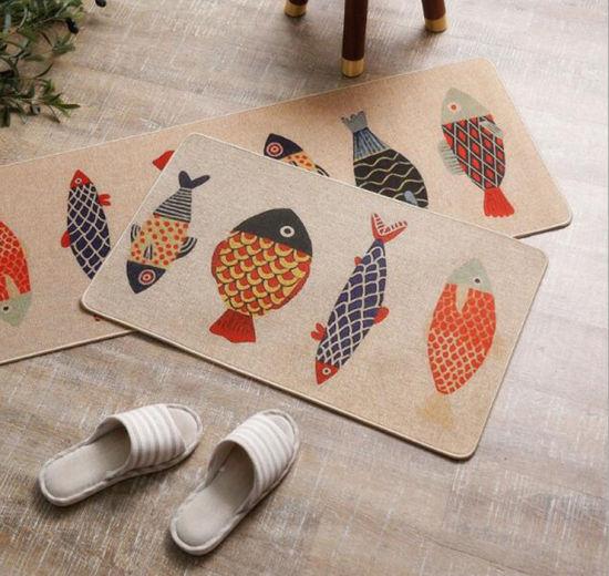 High Quality Linen Non-Slip Kitchen Floor Mat Rubber Carpet Home Door Mat