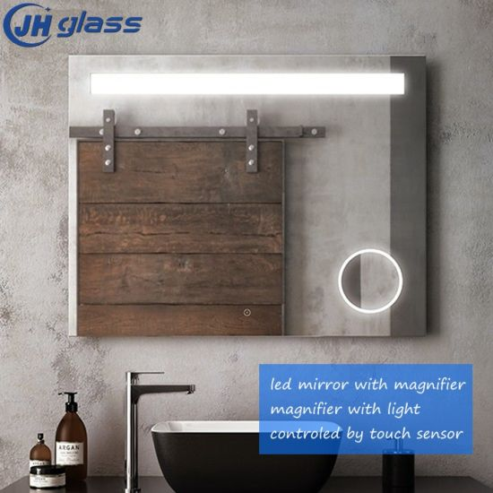 Jinghu Wall Mounted UL Ce Approved Bathroom Dining Room Full Length 3000K-5000K LED Mirror with Magnifier
