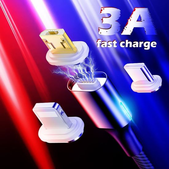 3A Fast Charging Wholesale Phone Accessories Magnetic Cable Type C Micro USB Lightning USB Data Cable