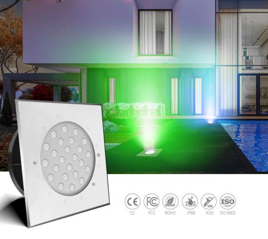 18W 24V DMX512 Control RGB LED Underwater Light IP68 Structure Waterproof SS316L LED Ground Light Pool Lighting