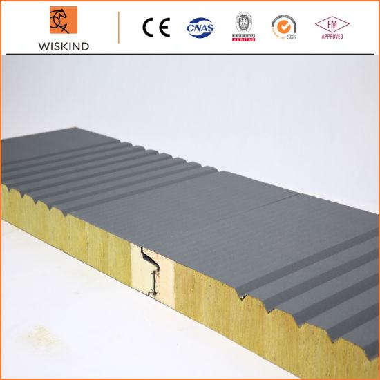 Metal Building Material PU Foam Edge Sealing Rock Wool Sandwich Panel with PVDF /PE/SMP/HDP Painting
