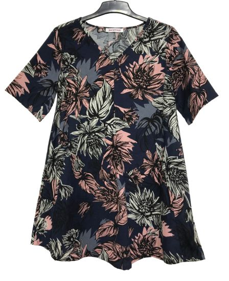 Flower Printed Ladies Loose Blouse with Short Sleeve