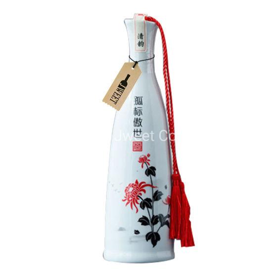 Custom 750 Ml White Porcelain Gin Bottle
