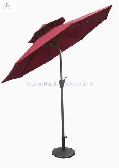 China 10ft 3m Double Roof Round Umbrella Crank Umbrella With Tilt