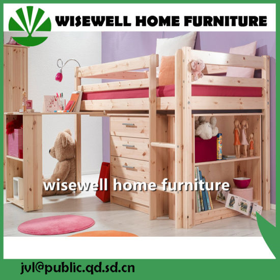 Solid Wood MID High Sleeper Bunk Bed With Storage