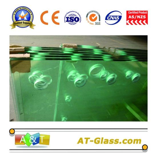 12mm 15mm Toughened Glass/Tempered Glass with Hole, Polished Edge