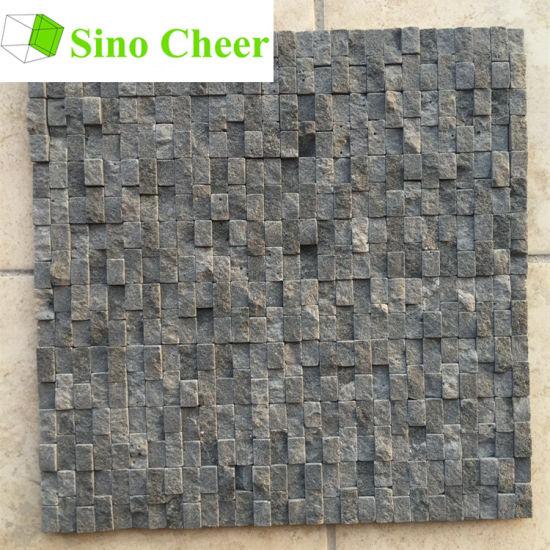 China Split Face Stone Black Marble Mosaic Floor Tile Designs
