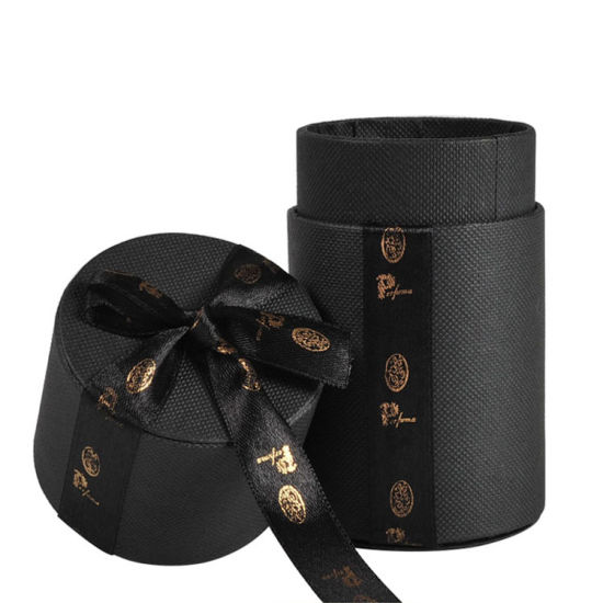 Black Cardboard Kraft Candy Cookies Cylinder Box with Bow Ribbon