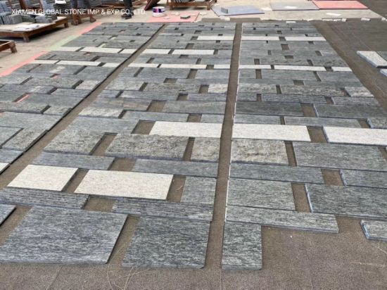Brazil Veder Maritaca Green/Grey/White Granite Tiles with Flamed/Bush-Hammered/Antique for Exterior Wall and Flooring