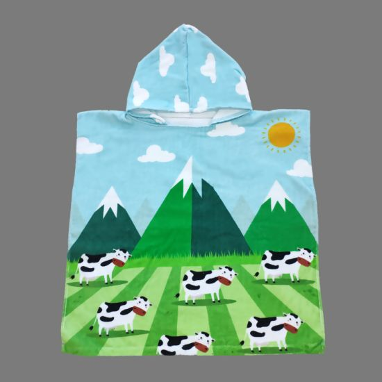 Digital Printed Children Towel Poncho Cow pictures & photos
