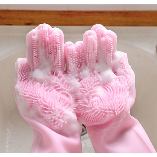 Silicone Brush Scrubber Waterproof Gloves for Dishwashing Kitchen Bathroom Cleaning