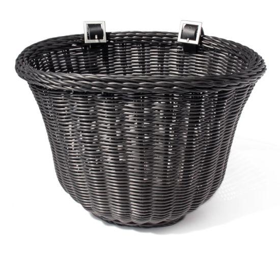 Bike Basket Adult Front Handlebar Wicker White Adjustable Straps Hand Woven
