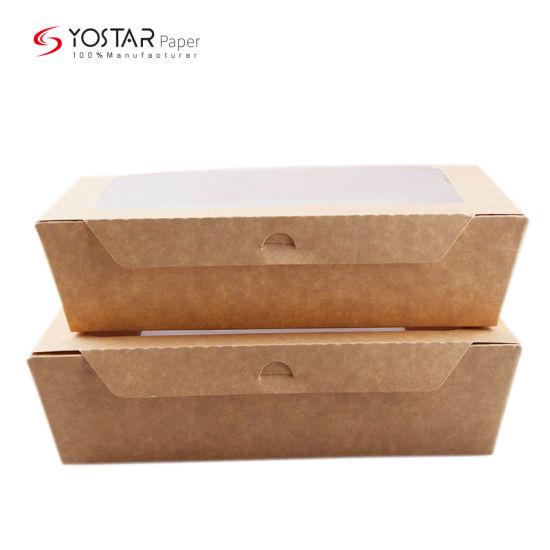 Recycled Food Grade Multilayer Kraft Back Board Paper Lunch Packaging Takeaway Paper Box with Window