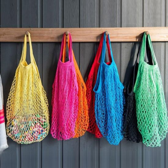 Popular Hot Sale Reusable String Tote Mesh Net Woven Cotton Bag Portable Grocery Shopping Bag