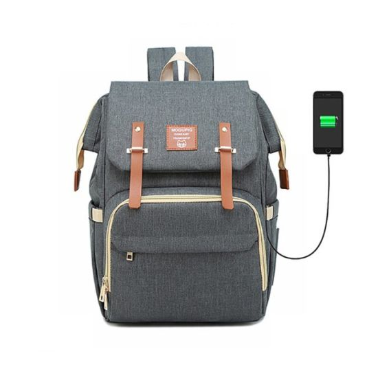 Mummy Daddy Baby Changing Rucksack USB Unisex Grey Diaper Backpack for Mother