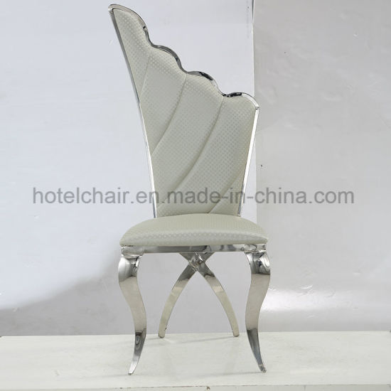 China Wholesale New Design Elegance High Back Leather Stainless Steel Dining  Room Chair