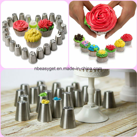 Russian Piping Tips - 57PCS Cake Baking Supplies - Decorating Set-Icing Nozzles-Pastry Disposable Bags & Coupler - Extra Large Decoration Kit Esg10158 pictures & photos