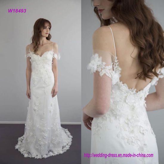 5d513652ed2 Gorgeous and Dreamy Silk Chiffon Draped Across Bodice and Delicately Sits  off The Shoulders Wedding Dress with Features Beaded Flower Lace